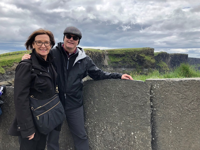 Lamar and Rita in front of Cliffs of Moher
